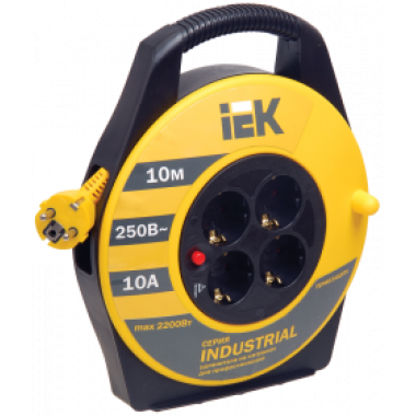 WKP14-10-04-10 IEK Катушка УК10 с термозащитой 4 места 2P+PE/10м 3х1,0мм2 INDUSTRIAL IEK