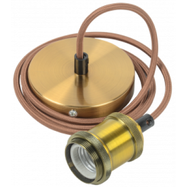 EPA12-04-02-K22 IEK Патрон подвесной Пал27-04-К52 E27 со шнуром 1,5м RETRO золото IEK