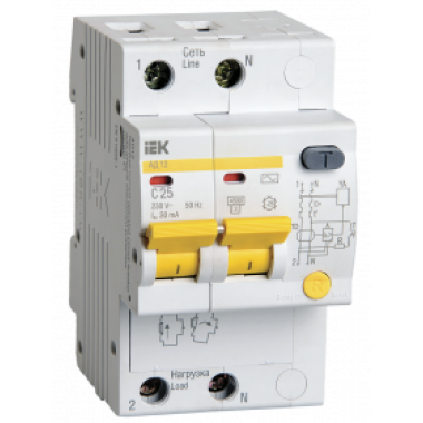 MAD10-2-025-C-030 IEK Дифференциальный автоматический выключатель АД12 2Р 25А 30мА