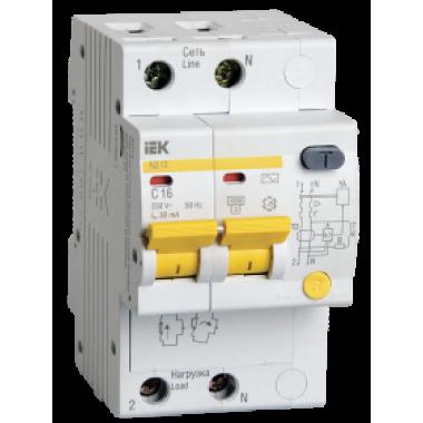 MAD10-2-016-C-030 IEK Дифференциальный автоматический выключатель АД12 2Р 16А 30мА