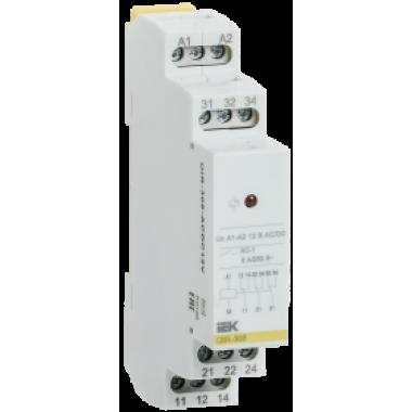 OIR-308-ACDC12V IEK Реле промежуточное модульное OIR 3 контакта 8А 12В AC/DC IEK