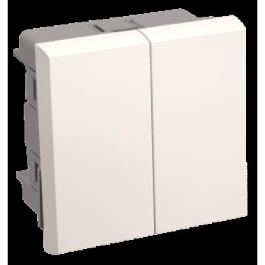 CKK-40D-PD2-K01 IEK Выключатель проходной (переключатель) двухклавишный ВК4-22-00-П (на 2 модуля) ПРАЙМЕР белый