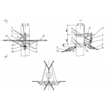 ASIP-BET-OPR-101-23-01 IEK Опора П33 ж/б промежуточная одноцепная с ответвлением в две стороны 2хСИП4-2 IEK