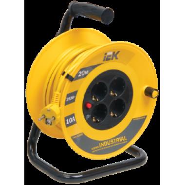 WKP14-10-04-20 IEK Катушка УК20 с термозащитой 4 места 2P+PE/20м 3х1,0мм2 INDUSTRIAL IEK