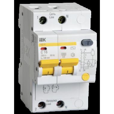 MAD10-2-016-C-100 IEK Дифференциальный автоматический выключатель АД12 2Р 16А 100мА