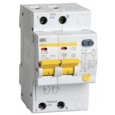 MAD10-2-025-C-010 IEK Дифференциальный автоматический выключатель АД12 2Р 25А 10мА