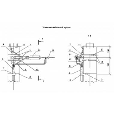 ASIP-BET-KMB-300-00-00 IEK Установка кабельной муфты на концевой ж/б опоре