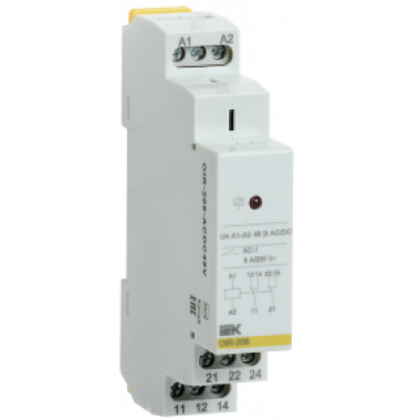 OIR-208-ACDC48V IEK Реле промежуточное модульное OIR 2 контакта 8А 48В AC/DC IEK