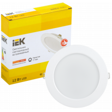 LDVO0-1613-12-3000-K01 IEK Светильник светодиодный ДВО 1613 круг 12Вт 3000К IP20 белый IEK