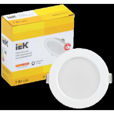 LDVO0-1611-07-3000-K01 IEK Светильник светодиодный ДВО 1611 круг 7Вт 3000К IP20 белый IEK