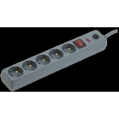 WFP10-16-05-03-ZK-K03 IEK Сетевой фильтр СФ-05К-выкл. 5 мест 2Р+PЕ/3метра 3х1мм2 16А серый IEK